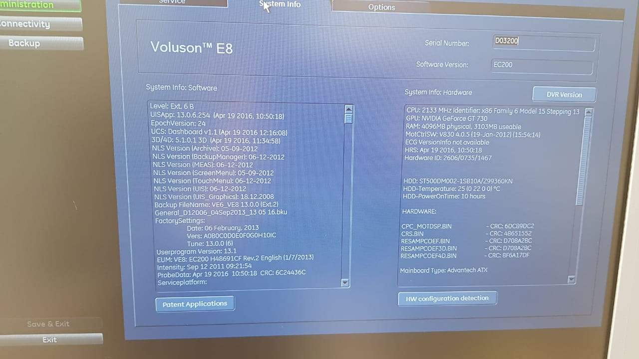 GE  E8 ultrasound BT13 with convex,linear,TV,4D full option
